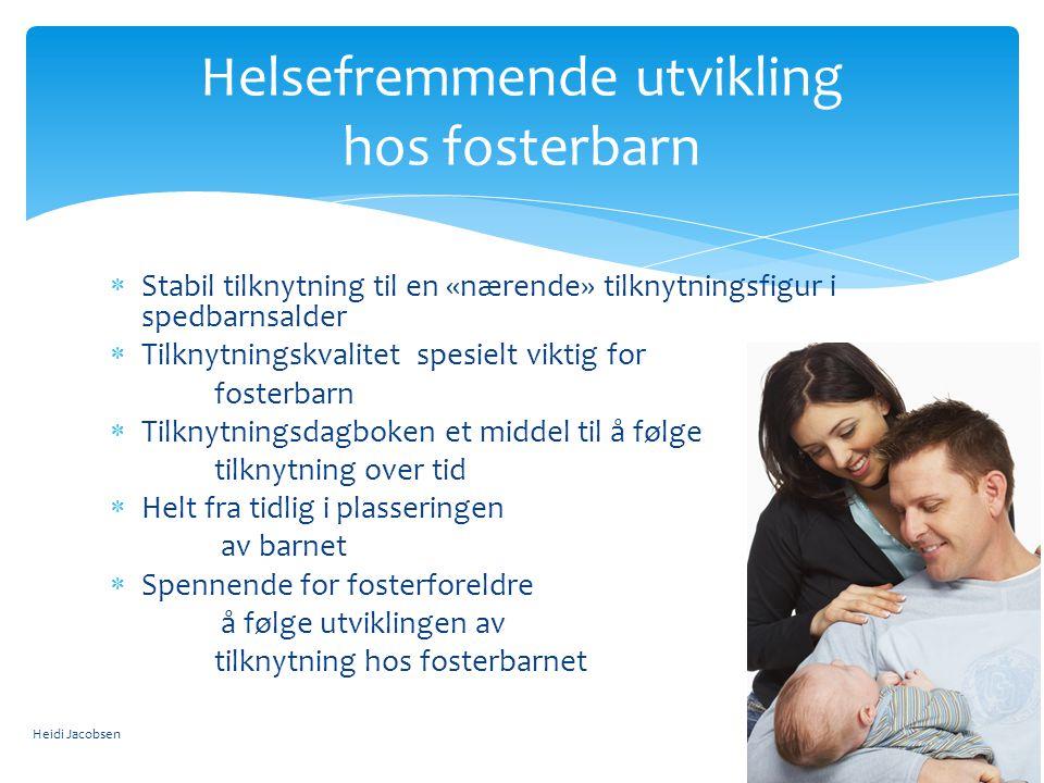  Trygge barn – opplever mor som tilgjengelig – søker mor for trøst og lar seg lett trøste (62 %)  Unnvikende barn – opplever ikke mor som tilgjengelig – søker ikke mor for trøst – trekker seg tilbake (15 %)  Ambivalente barn – opplever mor både som tilgjengelig og ikke tilgjengelig – vil ha trøst av mor - samtidig som barnet viser sinne og lar seg vanskelig trøste (9 %)  Desorganiserte barn – mangel strategi for å mestre stress – omsorgspersonen er den som skal trøste – men er også den som er truende (15 % - opp til 90%)  (Van IJzeendorn et al., 1999; Cicchetti et al., 2006) Tilknytningsmønstre Heidi Jacobsen