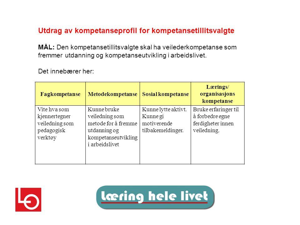 FagkompetanseMetodekompetanseSosial kompetanse Lærings/ organisasjons kompetanse Vite hva som kjennertegner veiledning som pedagogisk verktøy Kunne bruke veiledning som metode for å fremme utdanning og kompetanseutvikling i arbeidslivet Kunne lytte aktivt.