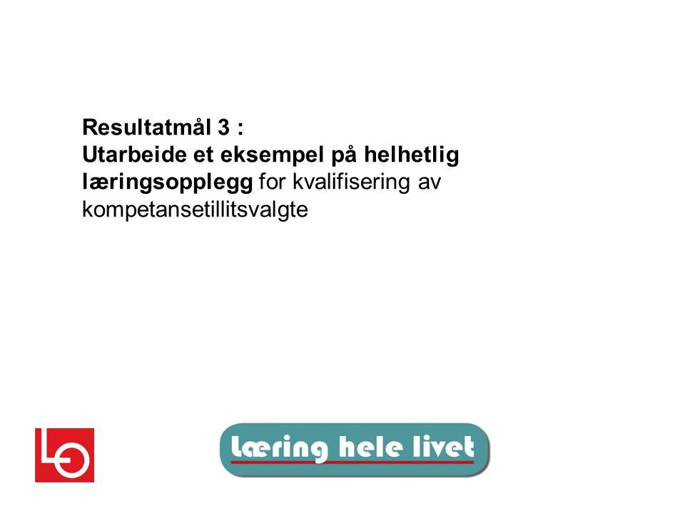 Resultatmål 3 : Utarbeide et eksempel på helhetlig læringsopplegg for kvalifisering av kompetansetillitsvalgte