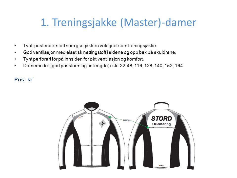 1.Treningsjakke (Master)-damer •Tynt, pustende stoff som gjør jakken velegnet som treningsjakke.