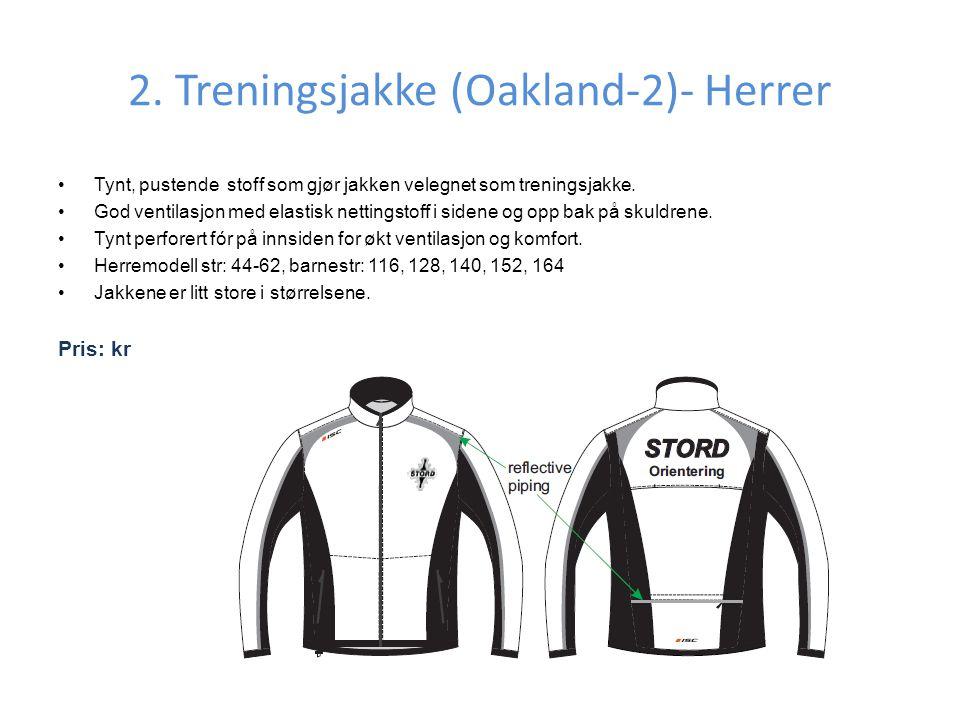 2. Treningsjakke (Oakland-2)- Herrer •Tynt, pustende stoff som gjør jakken velegnet som treningsjakke. •God ventilasjon med elastisk nettingstoff i si