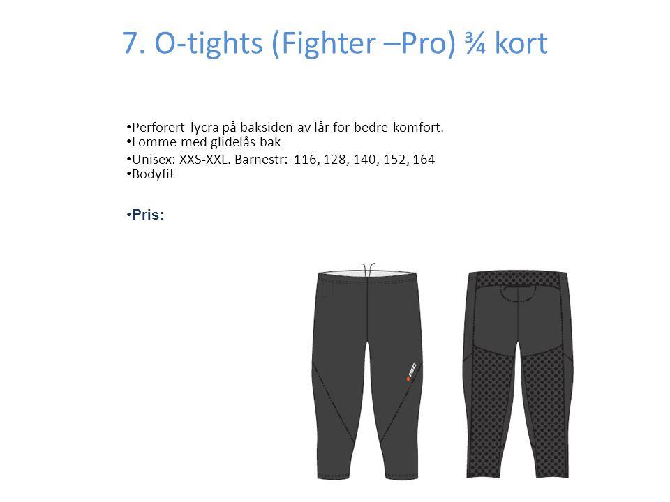 7.O-tights (Fighter –Pro) ¾ kort • Perforert lycra på baksiden av lår for bedre komfort.