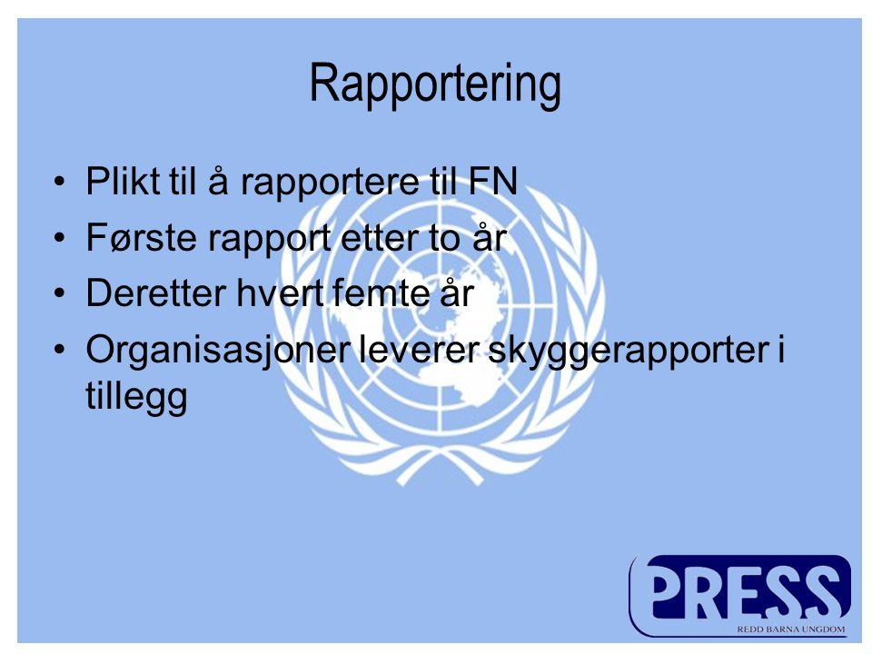 Rapportering •Plikt til å rapportere til FN •Første rapport etter to år •Deretter hvert femte år •Organisasjoner leverer skyggerapporter i tillegg