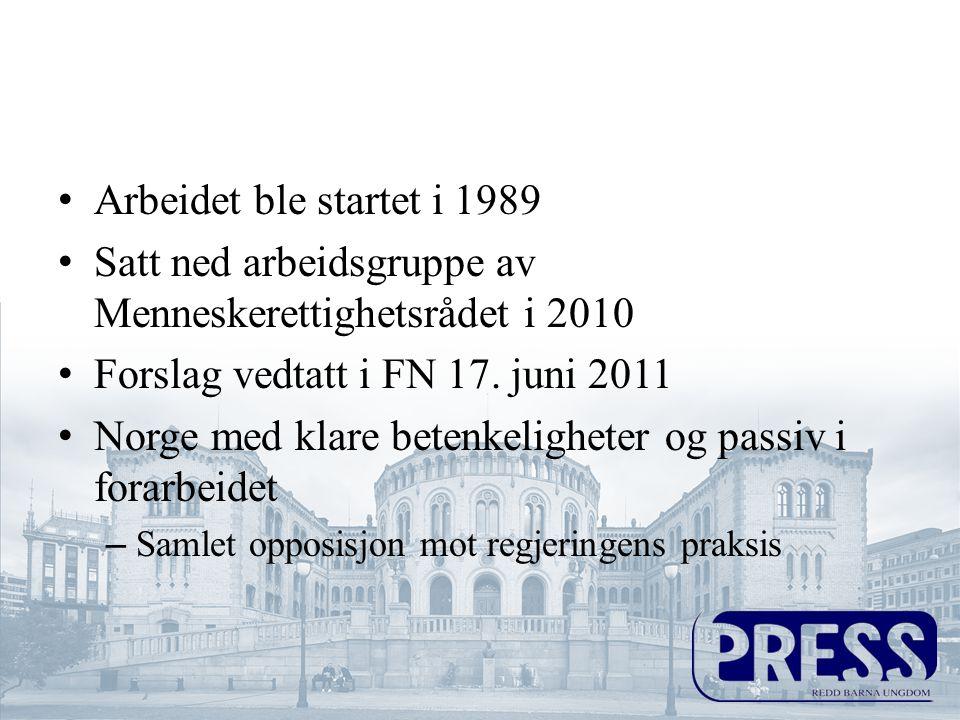 •Arbeidet ble startet i 1989 •Satt ned arbeidsgruppe av Menneskerettighetsrådet i 2010 •Forslag vedtatt i FN 17.