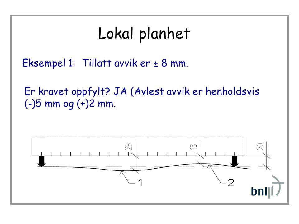 Lokal planhet Eksempel 1:Tillatt avvik er ± 8 mm.Er kravet oppfylt.