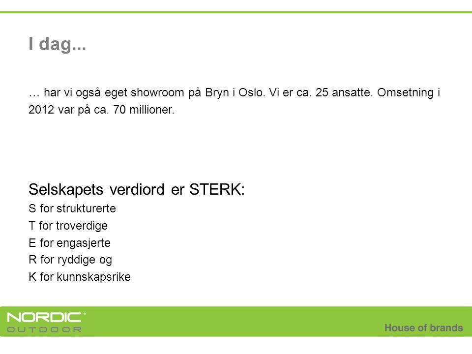 I dag... … har vi også eget showroom på Bryn i Oslo. Vi er ca. 25 ansatte. Omsetning i 2012 var på ca. 70 millioner. Selskapets verdiord er STERK: S f