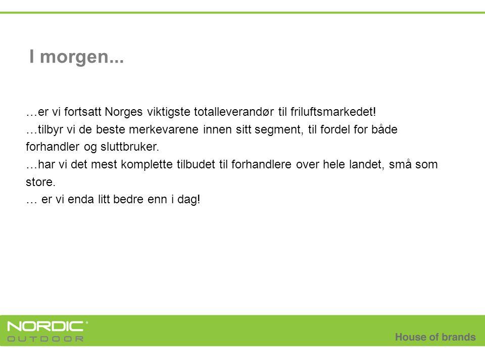 I morgen... …er vi fortsatt Norges viktigste totalleverandør til friluftsmarkedet! …tilbyr vi de beste merkevarene innen sitt segment, til fordel for