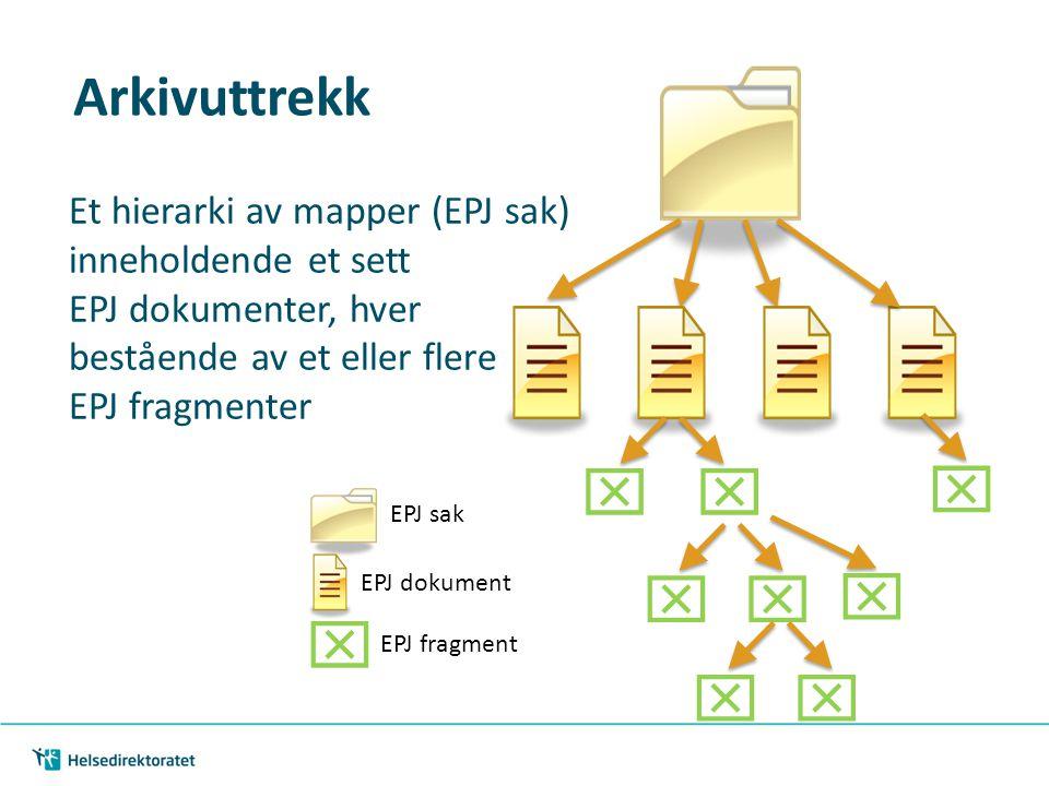Arkivuttrekk      EPJ sak EPJ dokument  EPJ fragment  Et hierarki av mapper (EPJ sak) inneholdende et sett EPJ dokumenter, hver bestående av