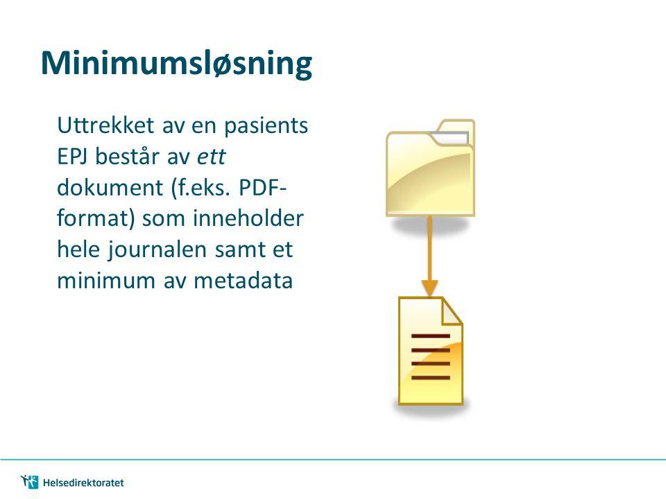 Minimumsløsning Uttrekket av en pasients EPJ består av ett dokument (f.eks. PDF- format) som inneholder hele journalen samt et minimum av metadata