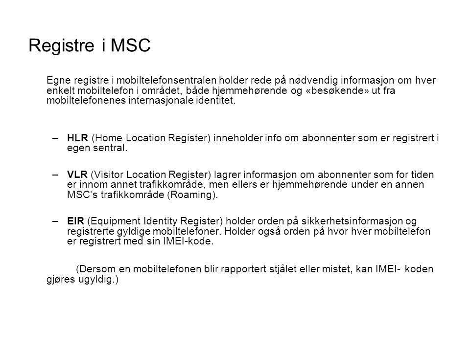 Registre i MSC Egne registre i mobiltelefonsentralen holder rede på nødvendig informasjon om hver enkelt mobiltelefon i området, både hjemmehørende og