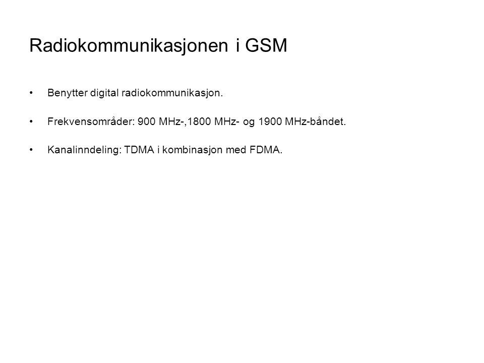 Radiokommunikasjonen i GSM •Benytter digital radiokommunikasjon. •Frekvensområder: 900 MHz-,1800 MHz- og 1900 MHz-båndet. •Kanalinndeling: TDMA i komb