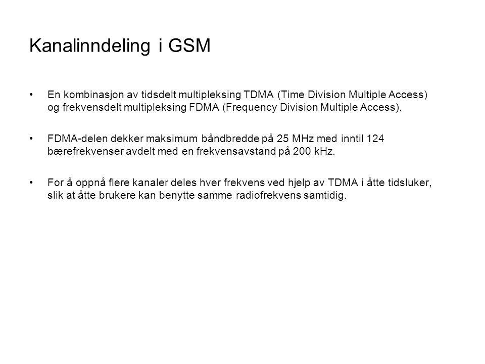 Kanalinndeling i GSM •En kombinasjon av tidsdelt multipleksing TDMA (Time Division Multiple Access) og frekvensdelt multipleksing FDMA (Frequency Divi