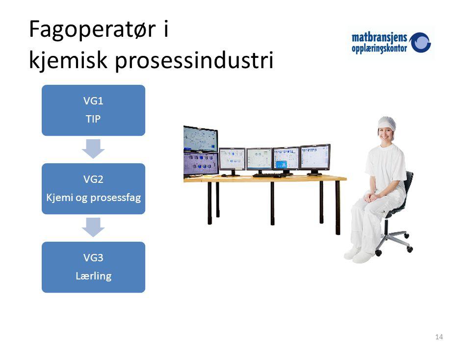 Fagoperatør i kjemisk prosessindustri 14 VG1 TIP VG2 Kjemi og prosessfag VG3 Lærling