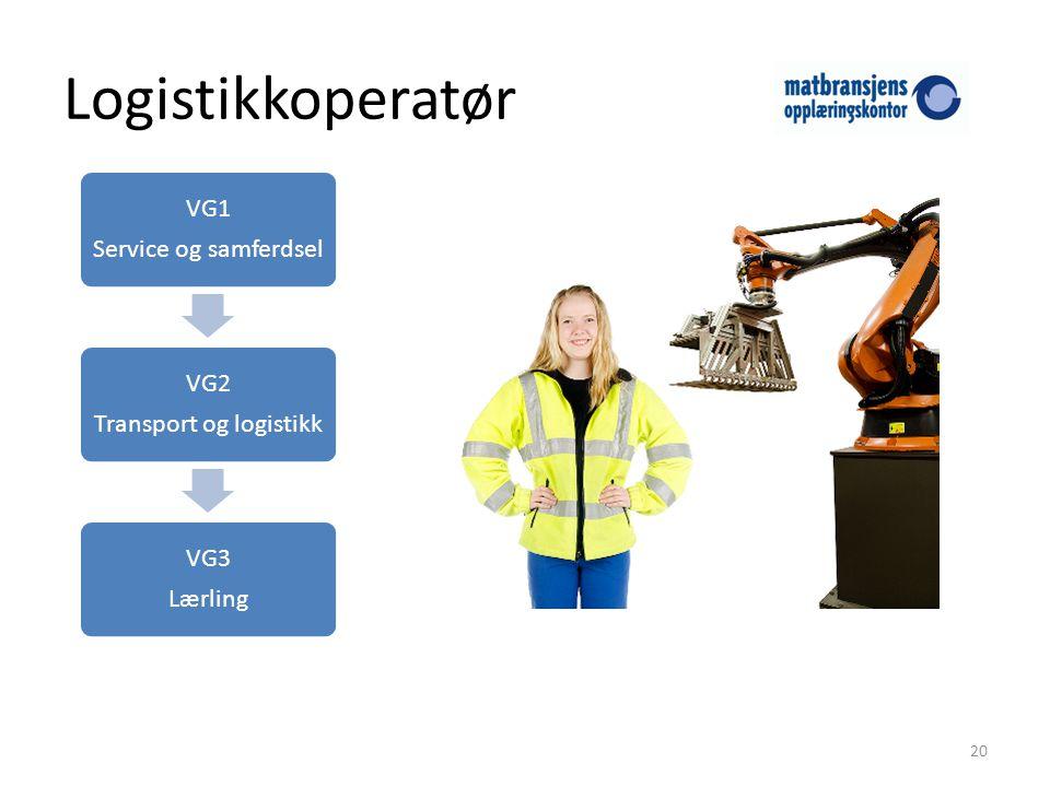 Logistikkoperatør 20 VG1 Service og samferdsel VG2 Transport og logistikk VG3 Lærling