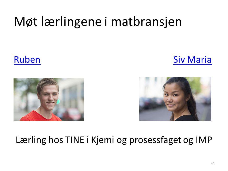 Møt lærlingene i matbransjen RubenSiv Maria Lærling hos TINE i Kjemi og prosessfaget og IMP 24