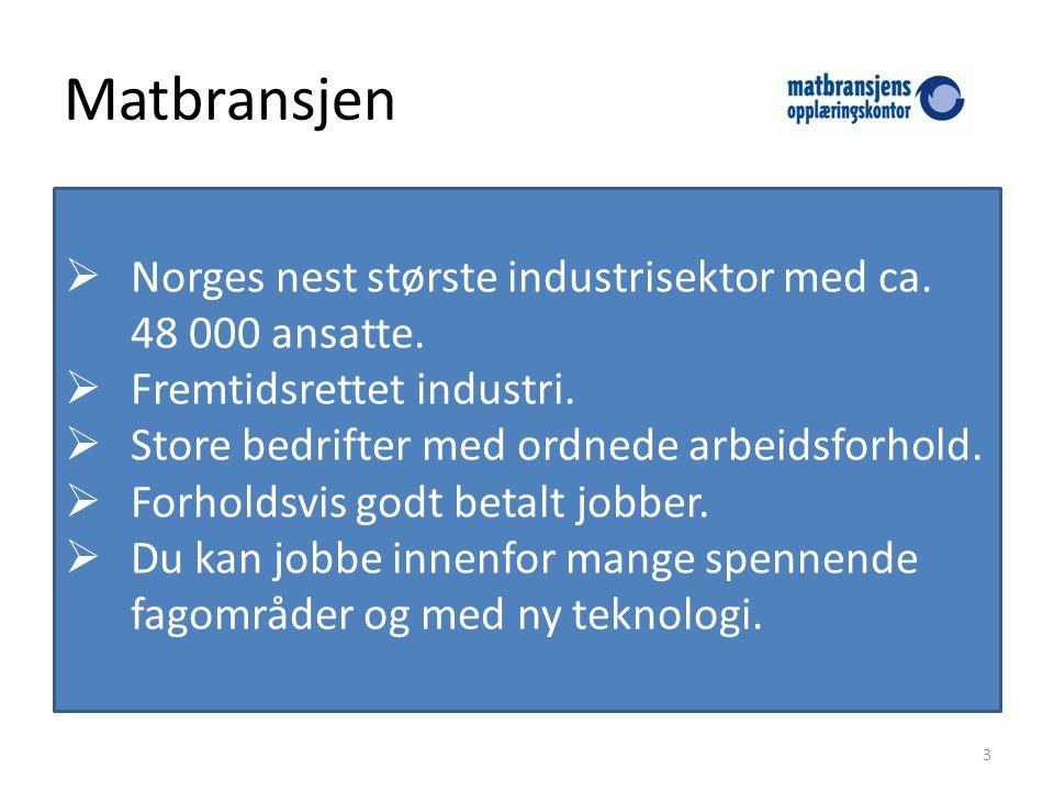 Matbransjen  Norges nest største industrisektor med ca.