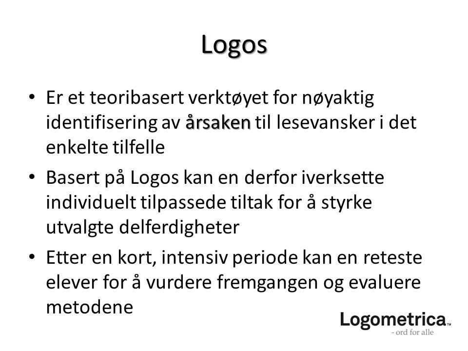 Logos årsaken • Er et teoribasert verktøyet for nøyaktig identifisering av årsaken til lesevansker i det enkelte tilfelle • Basert på Logos kan en der