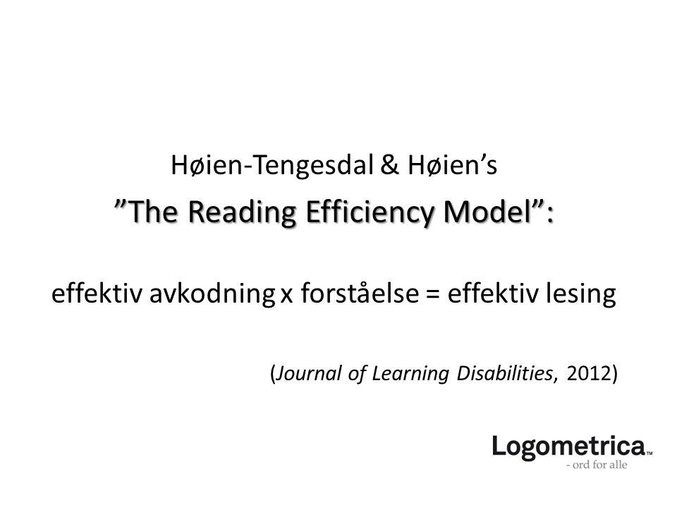 "Høien-Tengesdal & Høien's ""The Reading Efficiency Model"": ""The Reading Efficiency Model"": effektiv avkodning x forståelse = effektiv lesing (Journal o"