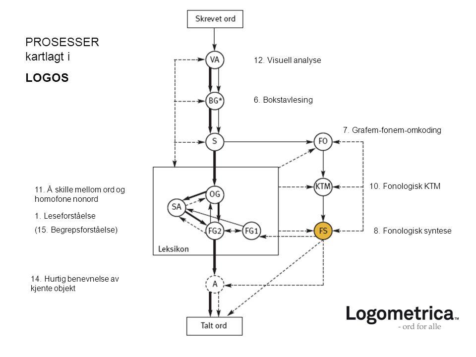 PROSESSER kartlagt i LOGOS 12. Visuell analyse 6. Bokstavlesing 7. Grafem-fonem-omkoding 10. Fonologisk KTM 8. Fonologisk syntese 11. Å skille mellom