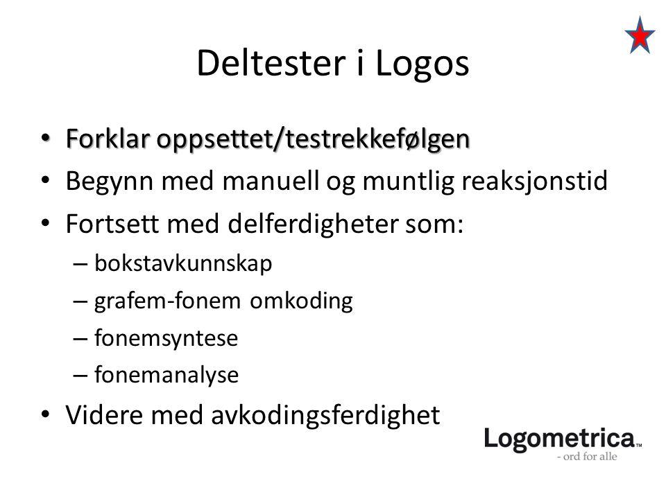 Deltester i Logos • Forklar oppsettet/testrekkefølgen • Begynn med manuell og muntlig reaksjonstid • Fortsett med delferdigheter som: – bokstavkunnska