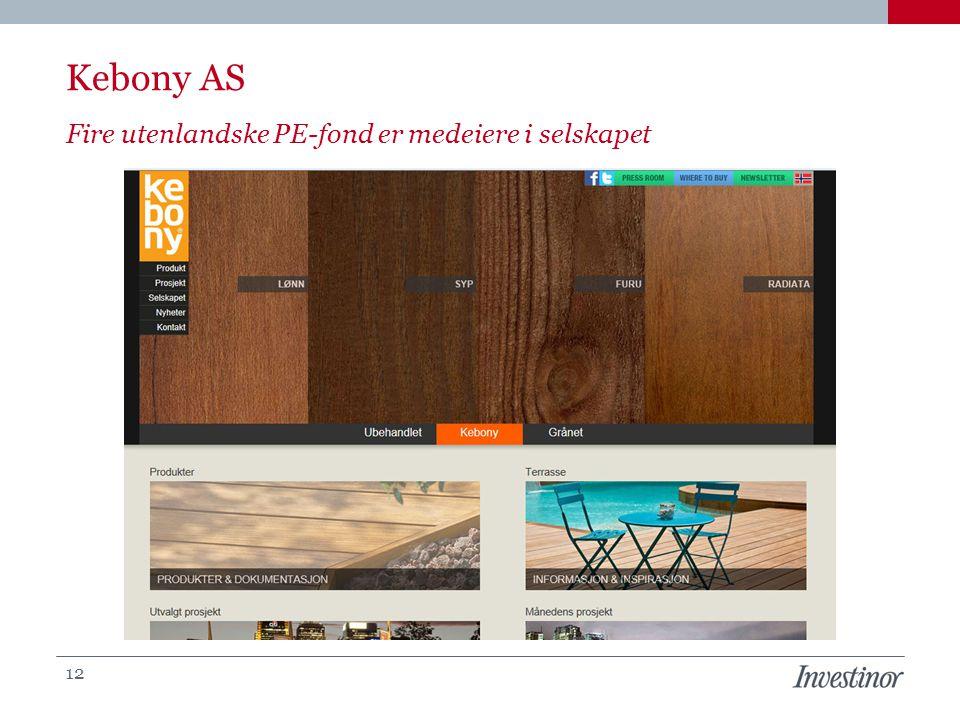 Fire utenlandske PE-fond er medeiere i selskapet Kebony AS 12