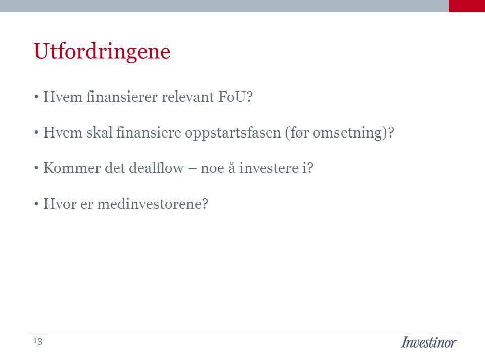 Utfordringene • Hvem finansierer relevant FoU? • Hvem skal finansiere oppstartsfasen (før omsetning)? • Kommer det dealflow – noe å investere i? • Hvo