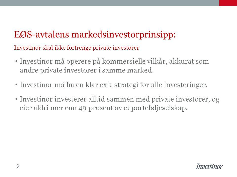 EØS-avtalens markedsinvestorprinsipp: Investinor skal ikke fortrenge private investorer • Investinor må operere på kommersielle vilkår, akkurat som an