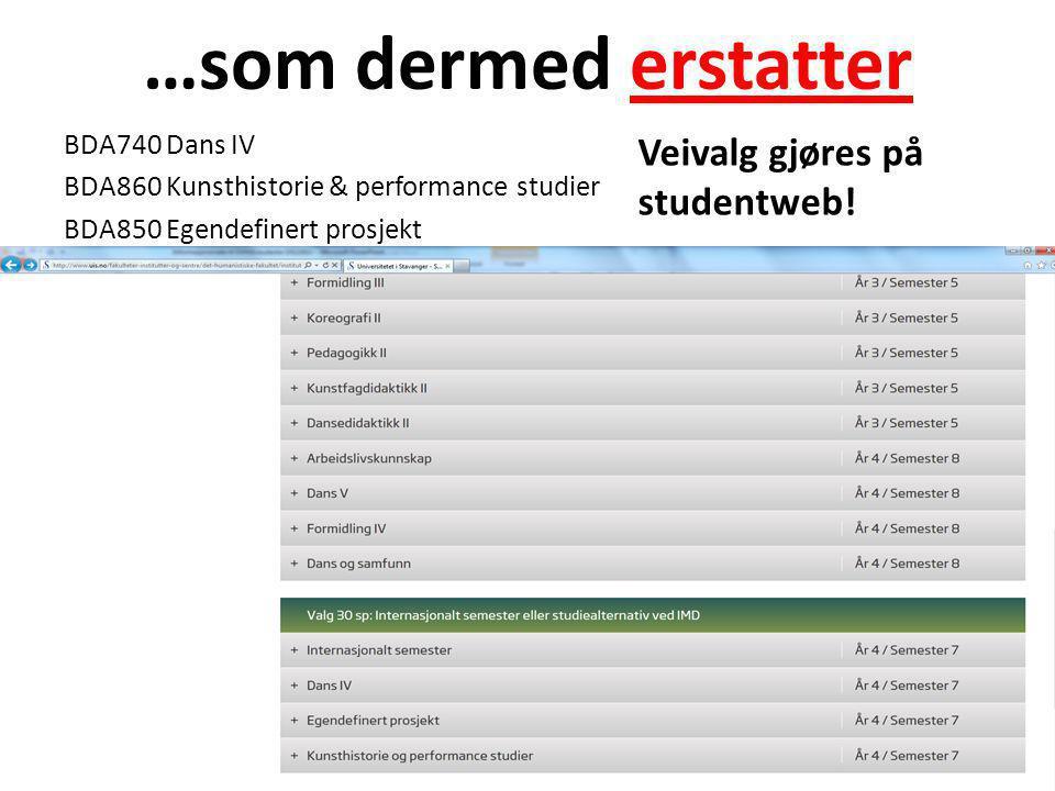 …som dermed erstatter BDA740 Dans IV BDA860 Kunsthistorie & performance studier BDA850 Egendefinert prosjekt Veivalg gjøres på studentweb!