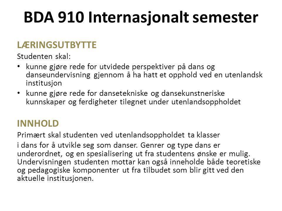 BDA 910 Internasjonalt semester LÆRINGSUTBYTTE Studenten skal: • kunne gjøre rede for utvidede perspektiver på dans og danseundervisning gjennom å ha