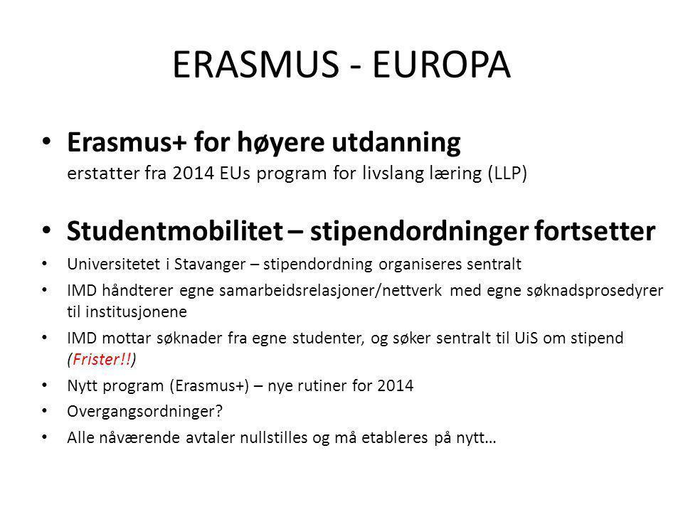ERASMUS - EUROPA • Erasmus+ for høyere utdanning erstatter fra 2014 EUs program for livslang læring (LLP) • Studentmobilitet – stipendordninger fortsetter • Universitetet i Stavanger – stipendordning organiseres sentralt • IMD håndterer egne samarbeidsrelasjoner/nettverk med egne søknadsprosedyrer til institusjonene • IMD mottar søknader fra egne studenter, og søker sentralt til UiS om stipend (Frister!!) • Nytt program (Erasmus+) – nye rutiner for 2014 • Overgangsordninger.