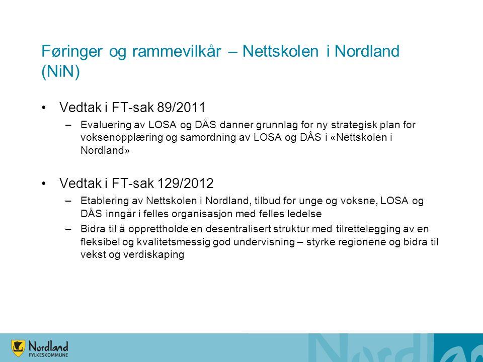 •Vedtak i FT-sak 89/2011 –Evaluering av LOSA og DÅS danner grunnlag for ny strategisk plan for voksenopplæring og samordning av LOSA og DÅS i «Nettskolen i Nordland» •Vedtak i FT-sak 129/2012 –Etablering av Nettskolen i Nordland, tilbud for unge og voksne, LOSA og DÅS inngår i felles organisasjon med felles ledelse –Bidra til å opprettholde en desentralisert struktur med tilrettelegging av en fleksibel og kvalitetsmessig god undervisning – styrke regionene og bidra til vekst og verdiskaping Føringer og rammevilkår – Nettskolen i Nordland (NiN)