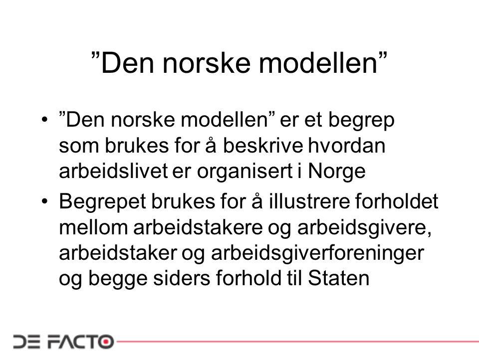 Den norske modellen • Den norske modellen er et begrep som brukes for å beskrive hvordan arbeidslivet er organisert i Norge •Begrepet brukes for å illustrere forholdet mellom arbeidstakere og arbeidsgivere, arbeidstaker og arbeidsgiverforeninger og begge siders forhold til Staten
