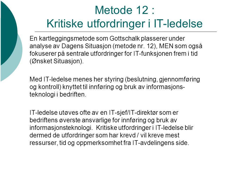 Metode 12 : Kritiske utfordringer i IT-ledelse En kartleggingsmetode som Gottschalk plasserer under analyse av Dagens Situasjon (metode nr. 12), MEN s