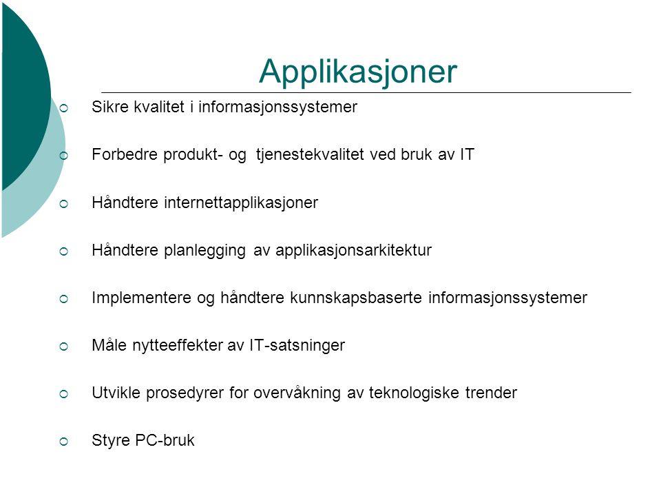 Applikasjoner  Sikre kvalitet i informasjonssystemer  Forbedre produkt- og tjenestekvalitet ved bruk av IT  Håndtere internettapplikasjoner  Håndt
