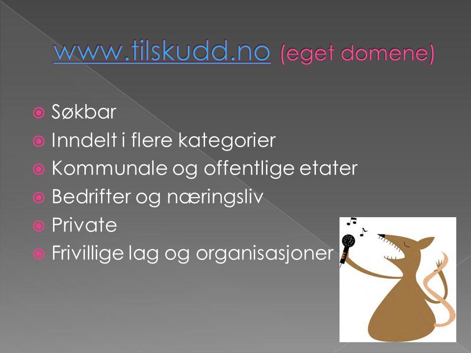  Søkbar  Inndelt i flere kategorier  Kommunale og offentlige etater  Bedrifter og næringsliv  Private  Frivillige lag og organisasjoner