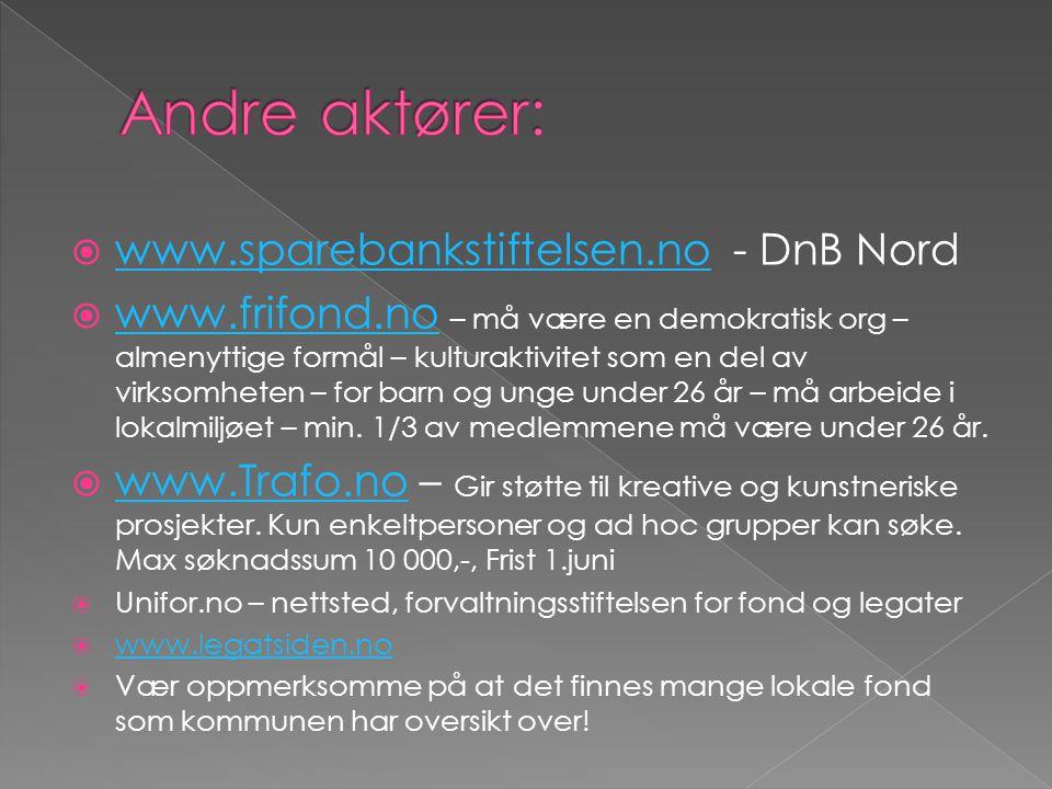  www.sparebankstiftelsen.no - DnB Nord www.sparebankstiftelsen.no  www.frifond.no – må være en demokratisk org – almenyttige formål – kulturaktivitet som en del av virksomheten – for barn og unge under 26 år – må arbeide i lokalmiljøet – min.