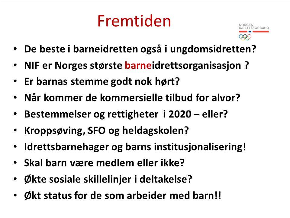 Fremtiden • De beste i barneidretten også i ungdomsidretten? • NIF er Norges største barneidrettsorganisasjon ? • Er barnas stemme godt nok hørt? • Nå