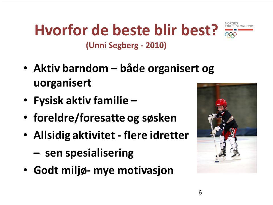 Hvorfor de beste blir best? (Unni Segberg - 2010) • Aktiv barndom – både organisert og uorganisert • Fysisk aktiv familie – • foreldre/foresatte og sø