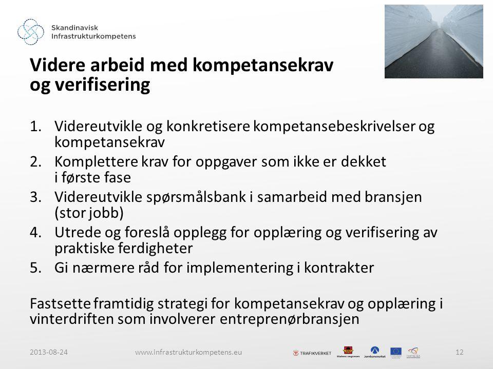 2013-08-24www.infrastrukturkompetens.eu12 Videre arbeid med kompetansekrav og verifisering 1.Videreutvikle og konkretisere kompetansebeskrivelser og kompetansekrav 2.Komplettere krav for oppgaver som ikke er dekket i første fase 3.Videreutvikle spørsmålsbank i samarbeid med bransjen (stor jobb) 4.Utrede og foreslå opplegg for opplæring og verifisering av praktiske ferdigheter 5.Gi nærmere råd for implementering i kontrakter Fastsette framtidig strategi for kompetansekrav og opplæring i vinterdriften som involverer entreprenørbransjen