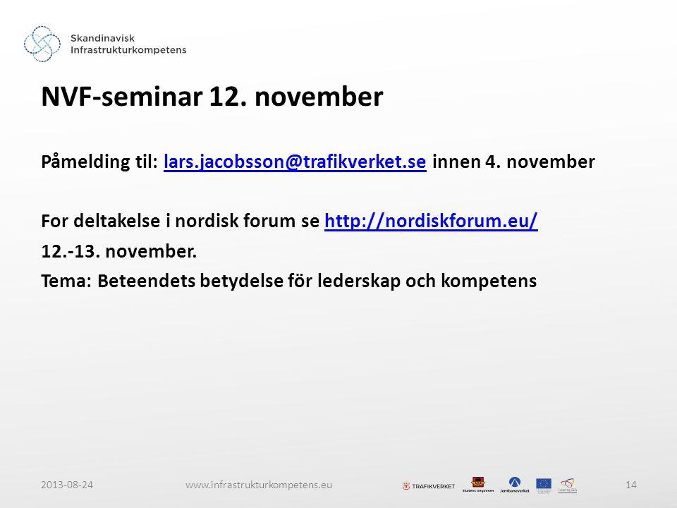 2013-08-24www.infrastrukturkompetens.eu14 NVF-seminar 12.