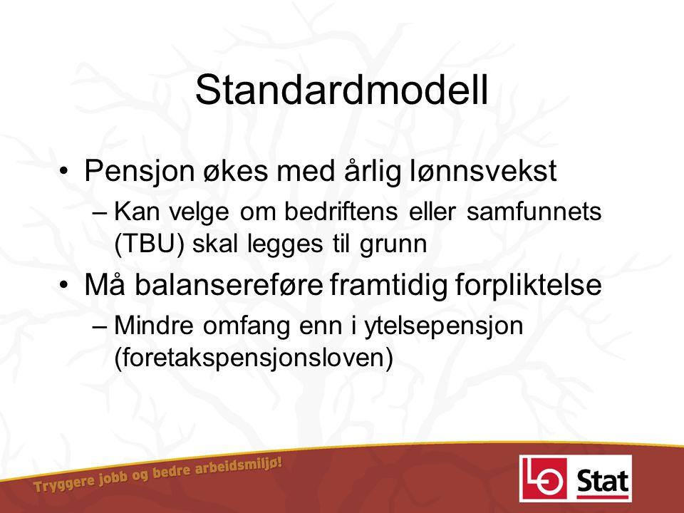 Standardmodell •Pensjon økes med årlig lønnsvekst –Kan velge om bedriftens eller samfunnets (TBU) skal legges til grunn •Må balansereføre framtidig fo