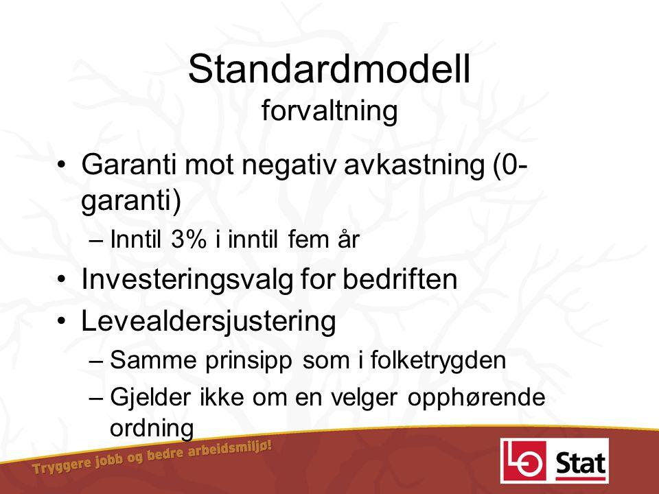 Standardmodell forvaltning •Garanti mot negativ avkastning (0- garanti) –Inntil 3% i inntil fem år •Investeringsvalg for bedriften •Levealdersjusterin