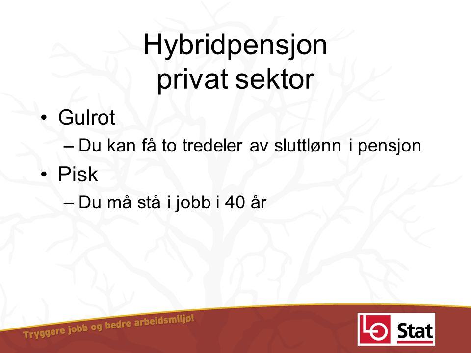 Hybridpensjon privat sektor •Gulrot –Du kan få to tredeler av sluttlønn i pensjon •Pisk –Du må stå i jobb i 40 år