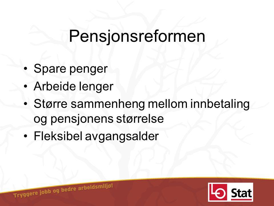 Pensjonsreformen •Spare penger •Arbeide lenger •Større sammenheng mellom innbetaling og pensjonens størrelse •Fleksibel avgangsalder