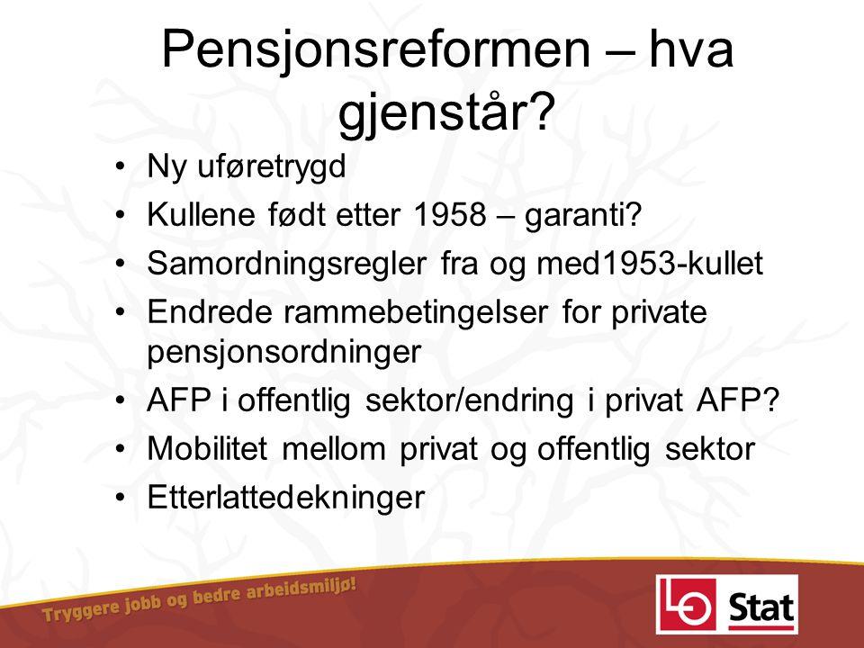 Pensjonsreformen – hva gjenstår? •Ny uføretrygd •Kullene født etter 1958 – garanti? •Samordningsregler fra og med1953-kullet •Endrede rammebetingelser