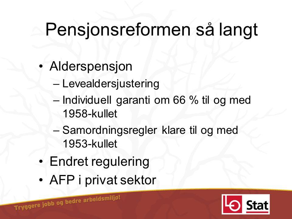 Pensjonsreformen så langt •Alderspensjon –Levealdersjustering –Individuell garanti om 66 % til og med 1958-kullet –Samordningsregler klare til og med