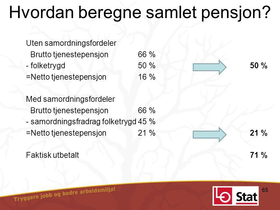 Hvordan beregne samlet pensjon? Uten samordningsfordeler Brutto tjenestepensjon66 % - folketrygd50 %50 % =Netto tjenestepensjon16 % Med samordningsfor
