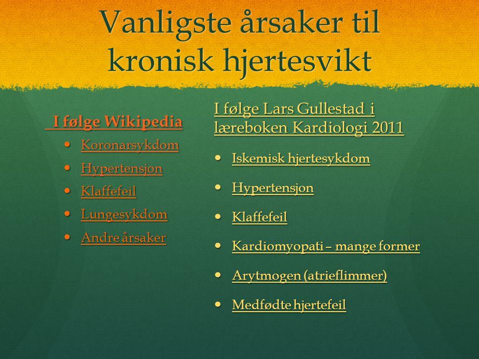 Vanligste årsaker til kronisk hjertesvikt I følge Wikipedia I følge Wikipedia  Koronarsykdom Koronarsykdom  Hypertensjon Hypertensjon  Klaffefeil 