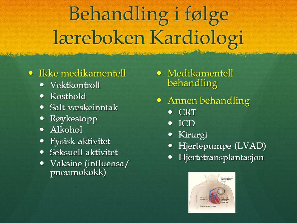 Behandling i følge læreboken Kardiologi  Ikke medikamentell  Vektkontroll  Kosthold  Salt-væskeinntak  Røykestopp  Alkohol  Fysisk aktivitet 