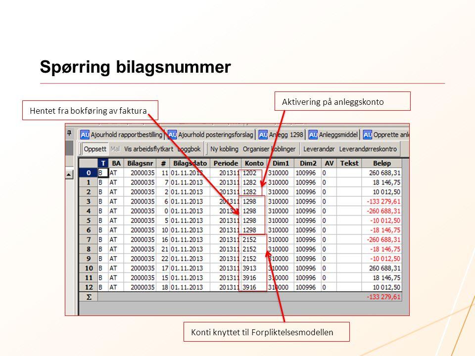 Spørring bilagsnummer Hentet fra bokføring av faktura Aktivering på anleggskonto Konti knyttet til Forpliktelsesmodellen